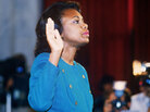 Anita Hill takes the oath in October 1991, before the Senate Judiciary Committee in Washington D.C.. Hill filed sexual harassment charges against then-US Supreme Court nominee Clarence Thomas.
