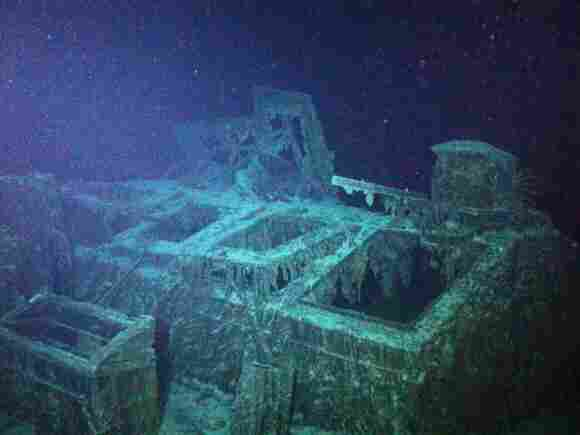 This image captured by a remote submersible shows a steel skylight on the SS Mantola's deck, above the ship's engine room. The wreck sits under 8,000 feet of water.