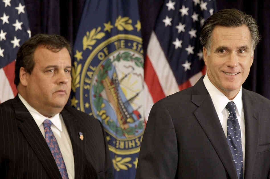 Mitt Romney with New Jersey Gov. Chris Christie in Lebanon, NH, Tuesday, Oct. 11, 2011.