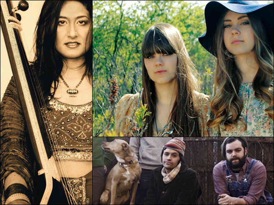 Indo-Canadian singer Kiran Ahluwalia (clockwise from left), Swedish duo First Aid Kit, and the Philadelphia-based rock group mewithoutyou.