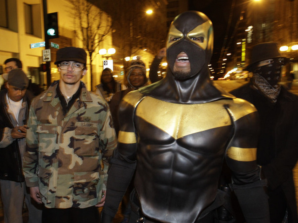 <p>Phoenix Jones on the streets of Seattle back in February.</p>