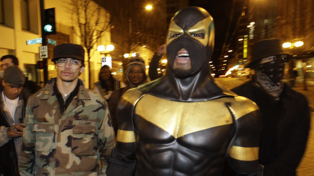 Phoenix Jones on the streets of Seattle back in February. (AP)