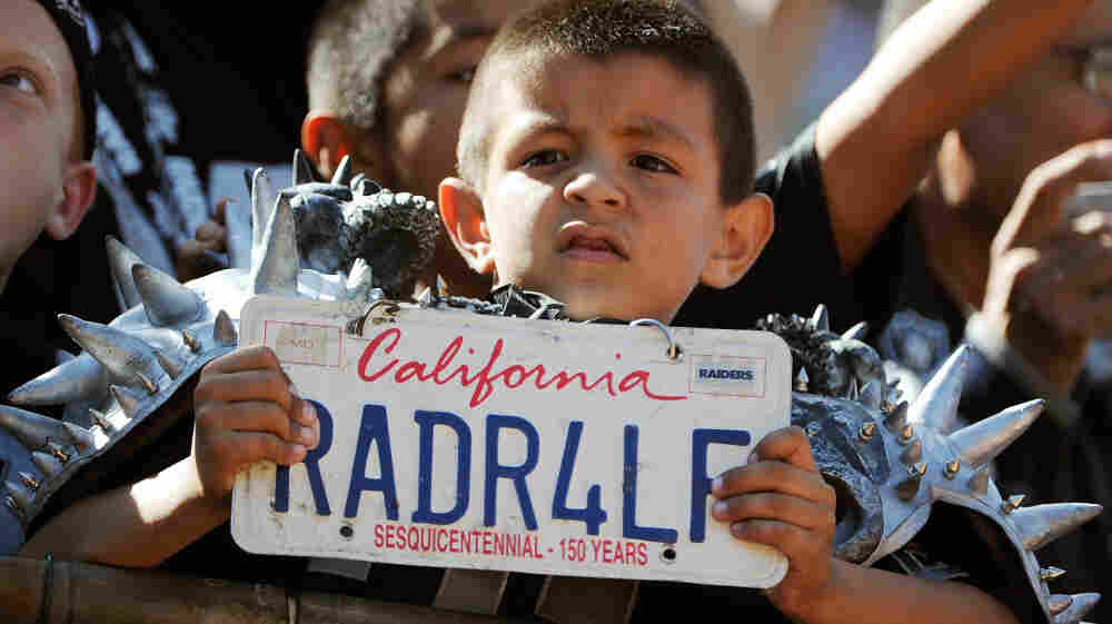It's hard to relate America's love for the NFL to the broader national temperament — but the league now dominates all sports. Here, a young Oakland Raiders fan watches his team on a recent Sunday.