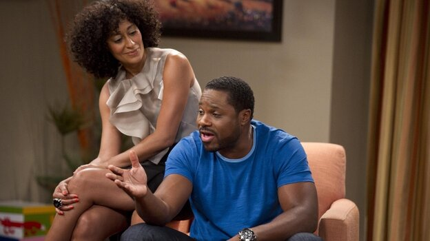 Tracee Ellis Ross, left, and Malcolm-Jamal Warner star in BET's new family comedy, Reed Between The Lines.