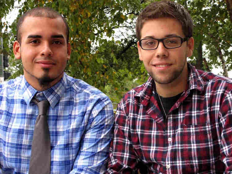 "Orlando Quintana (right) and Enrique Omar Nieves frequently attend services at New Life Covenant. ""This church makes you feel like family,"" Quintana says."