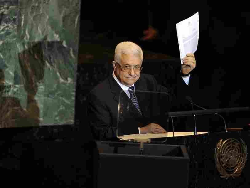 Mahmoud Abbas, President of the Palestinian Authority, requests Palestine's full admission to the UN as a sovereign state during the United Nations General Assembly on September 23, 2011.