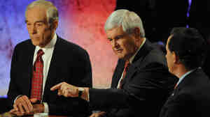 Former House Speaker Newt Gingrich makes a point during the presidential debate sponsored at Dartmouth College in Hanover, New Hampshire, Tuesday night.