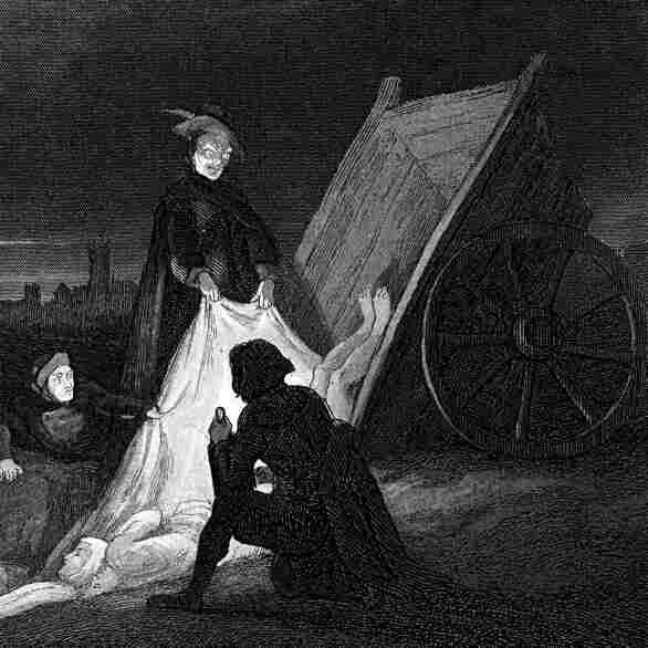 Victims of the plague are consigned to a communal burial during the Plague of London in 1665.