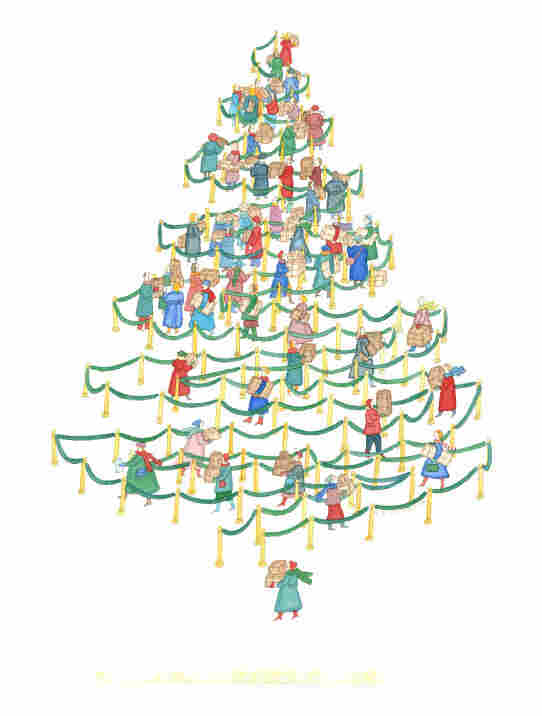 This work, called The Christmas Tree Line, is one of Johnson's famous pieces that ran in The New Yorker in 1985 well before she became ill. It has layers of meaning if you look at it closely, says Barbara Landau, a professor of cognitive science at Johns Hopkins University.