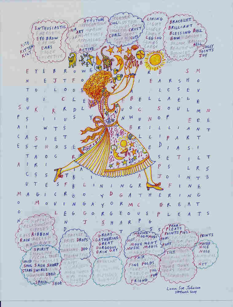 Language drives Johnson's art since her illness, as depicted in her piece called Enthusiastic, created in 2009.