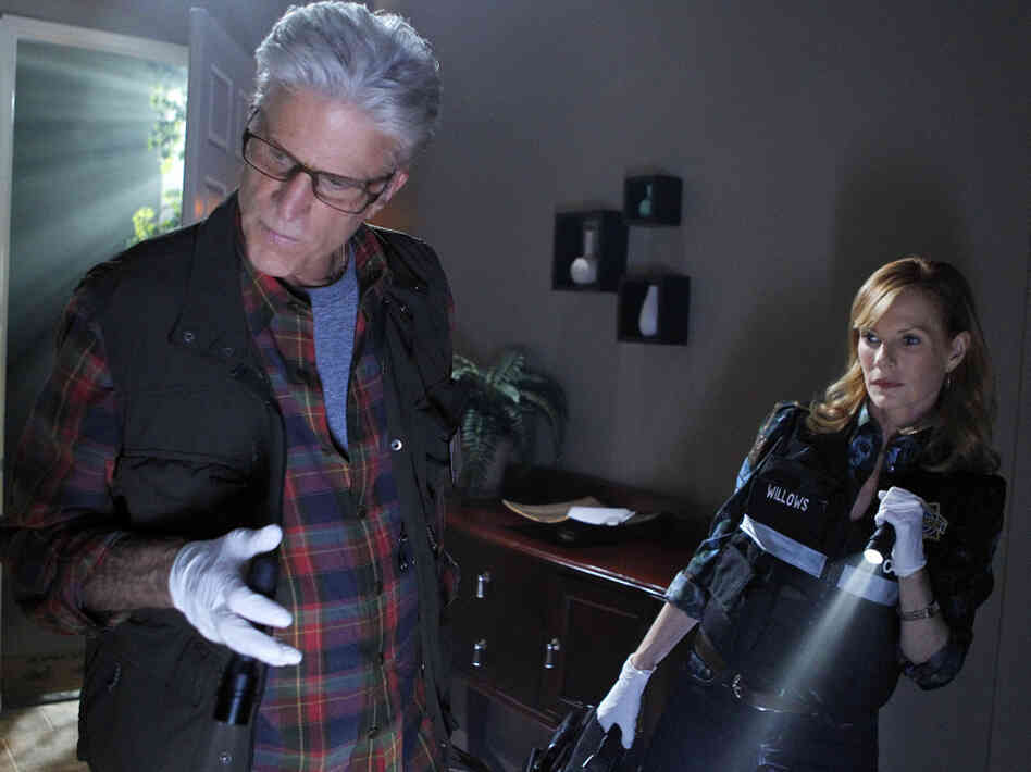 Ted Danson and Marg Helgenberger search for clues on the CBS drama CSI.