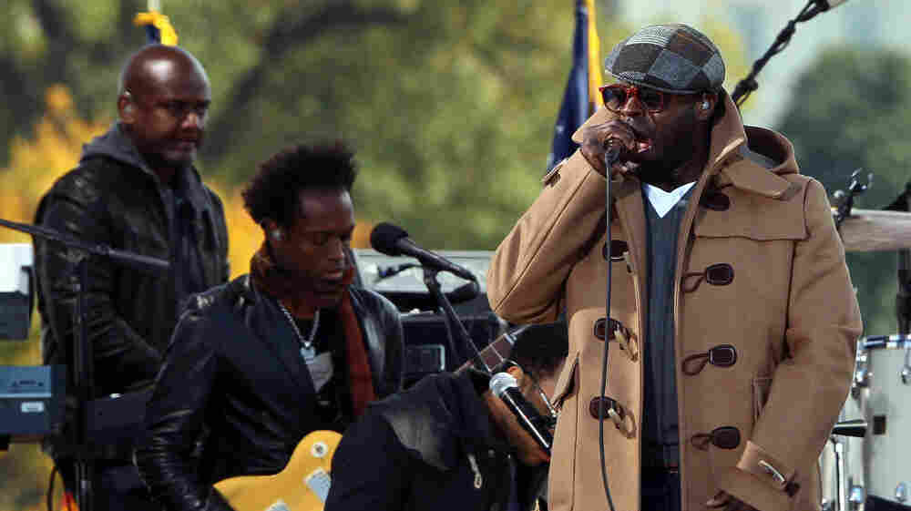 The Roots, pictured here at Jon Stewart's Rally To Restore Sanity at the National Mall in Washington, D.C. last fall, have performed and recorded songs with roots in protest movements.
