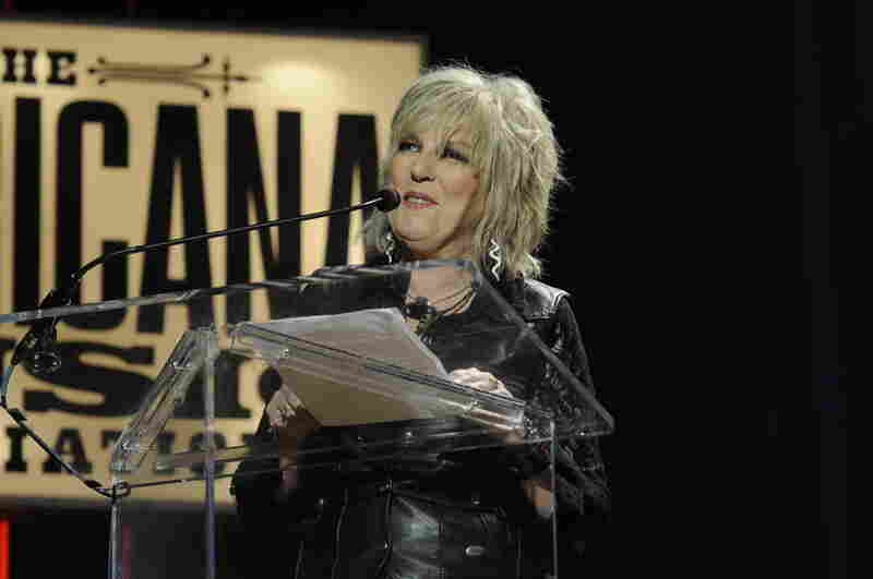 Lucinda Williams choked up during her Lifetime Achievement Award acceptance speech when she thanked her husband and manager Tom Overby.