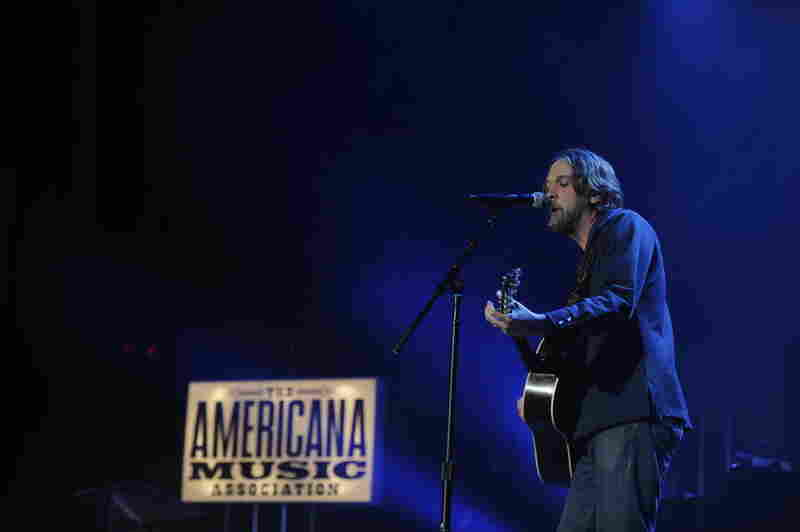 Artist of the Year nominee Hayes Carll performs during the Americana Music Awards.