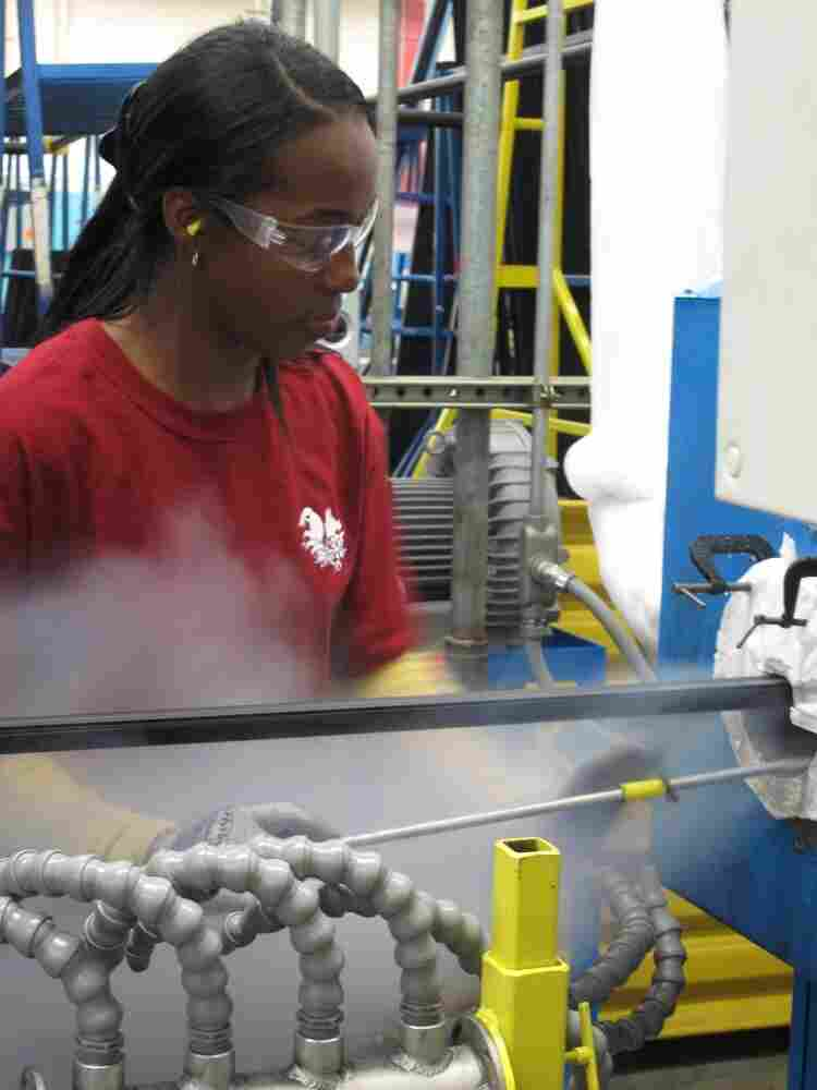 Ida Rodgers is an extruder technician at Cooper Standard. Two years ago, the company filed for bankruptcy, but with state tax breaks, it was able to expand this year.
