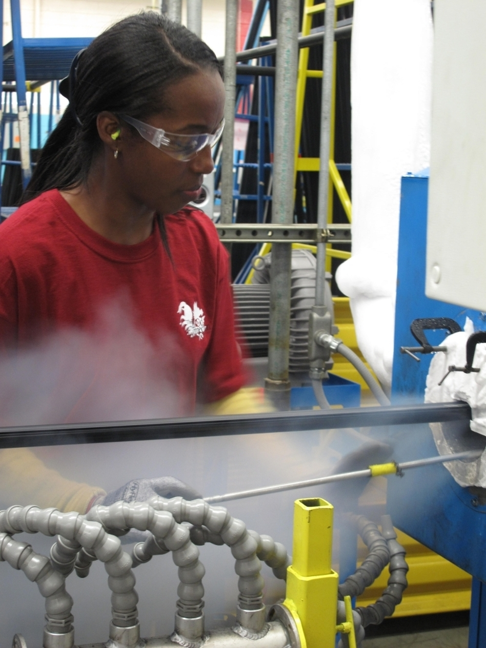 """<p>Ida Rodgers is an extruder technician at Cooper Standard. Two years ago, the company filed for bankruptcy, but with state tax breaks, it was able to expand this year. <a href=""""javascript://seamus.npr.org""""></a></p>"""