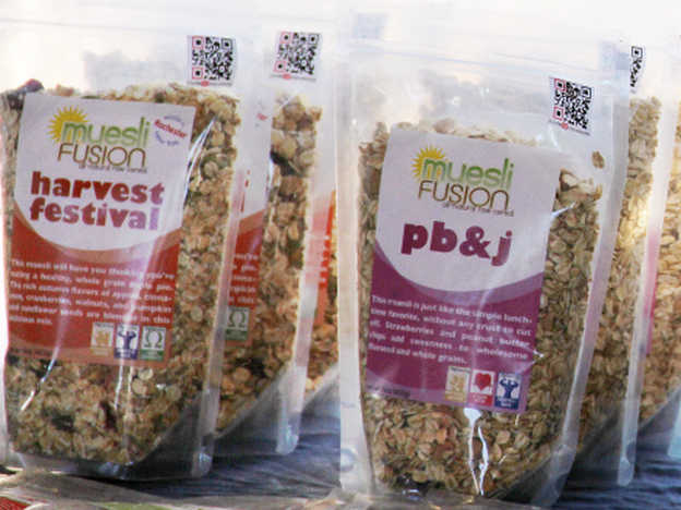 <p>Muesli Fusion for sale at the Rochester Public Market in Rochester, N.Y. Being a local brand has served owner Ian Szalinski well, but he has bigger plans for his cereal business. </p>