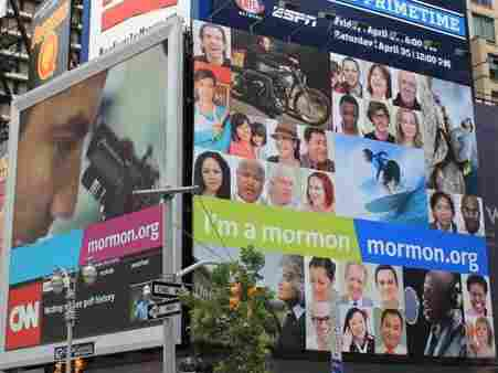 "An ""I'm A Mormon"" billboard in New York's Times Square in June.The LDS church expanded the ad campaign to 12 new cities within the last week."