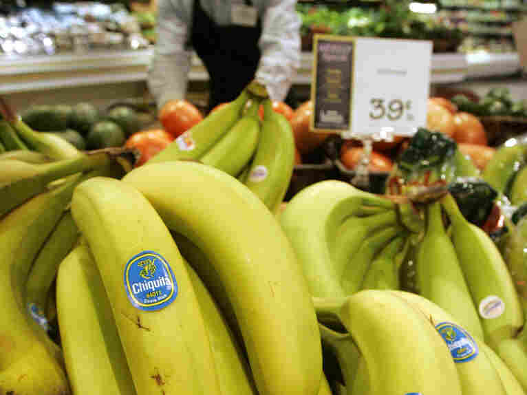 Chiquita bananas piled on display at a supermarket in Bainbridge, Ohio. The Cincinnati-based company is considering a move to another city.