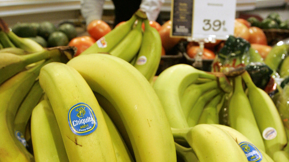 <p>Chiquita bananas piled on display at a supermarket in Bainbridge, Ohio. The Cincinnati-based company is considering a move to another city. </p>