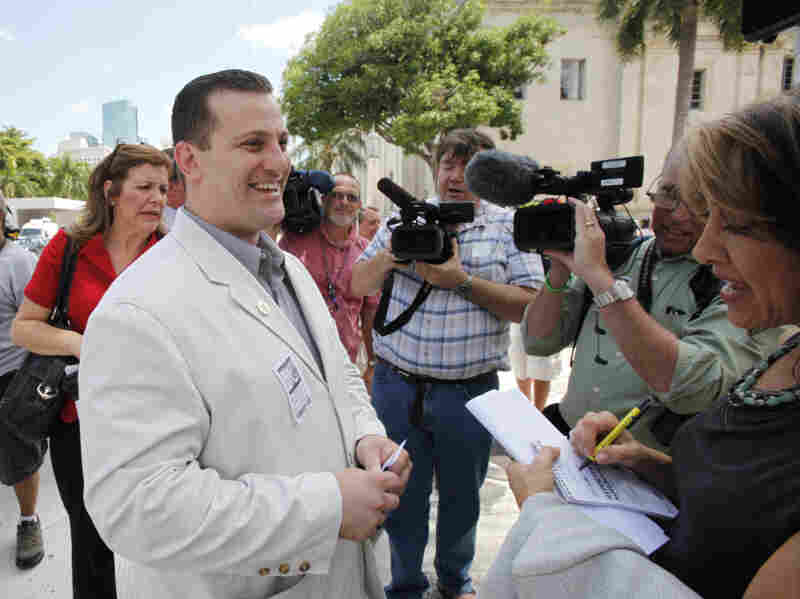 Nezar Hamze, director of the Council on American-Islamic Relations in South Florida, talks to members of the media in May. Hamze says he wants to talk to Rep. Allen West about the congressman's views on Islam and discuss the larger context of the passages he sometimes quotes from the Quran.