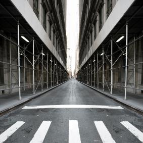 An empty city street.