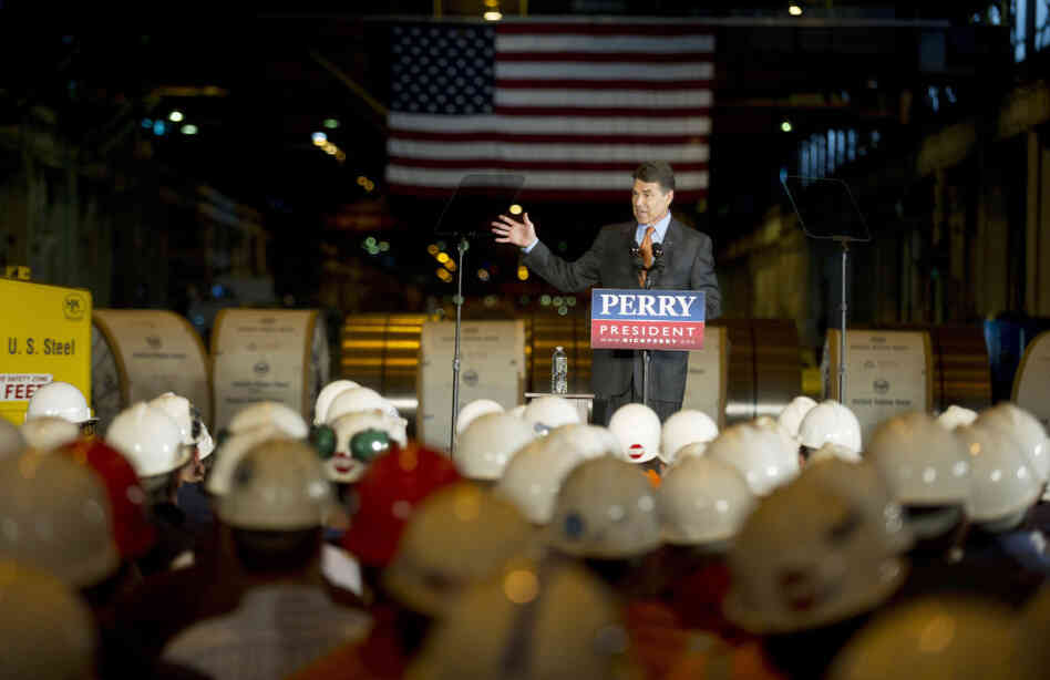 Texas Gov. Rick Perry lays out his energy plan at a US Steel plant in West Mifflin, Pa., Oct. 14, 2011.