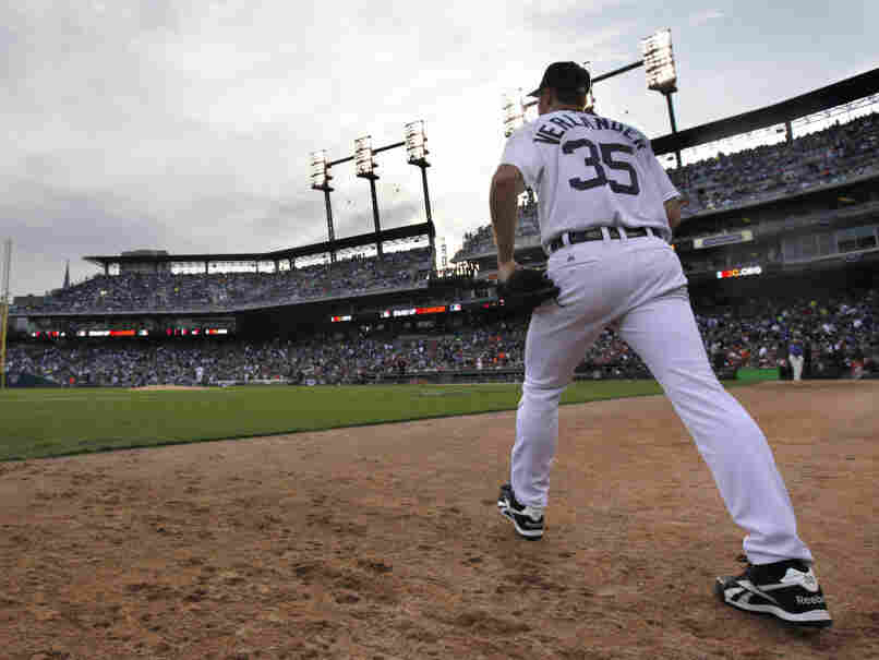 Detroit Tigers pitcher Justin Verlander walks to the mound during the fifth inning in Game 5 of baseball's American League championship series against the Texas Rangers on Thursday, Oct. 13, 2011, in Detroit.