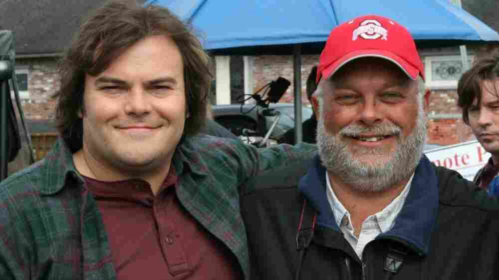 Jack Black and real-life birdwatcher Greg Miller pose on the set of The Big Year in British Columbia.