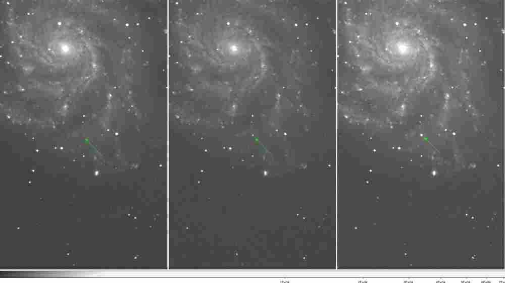 These images show Type Ia supernova 2011fe over the course of three nights in August. It's located in Messier 101, the Pinwheel Galaxy.