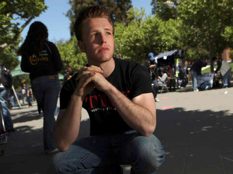 Diagnosed with ADHD at age 5, Blake Taylor poses on campus at University of California, Berkeley, in 2009, when he was 19.