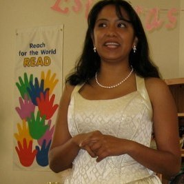 Author Malin Alegria often wears quinceanera dresses to her book readings.