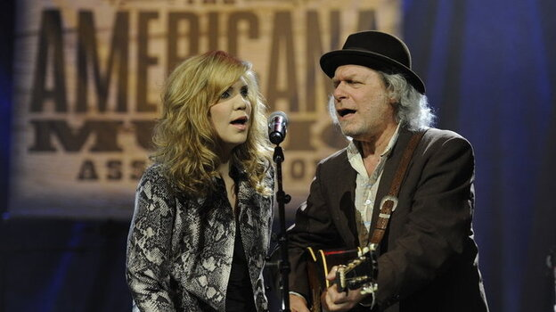 Alison Krauss and Buddy Miller performing a tribute to the O Brother, Where Art Thou? soundtrack at the start of the Americana Music Awards show on Oct. 13th.