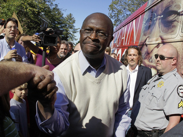 <p>Republican presidential candidate Herman Cain campaigns on Oct. 15 in Cookeville, Tenn. </p>