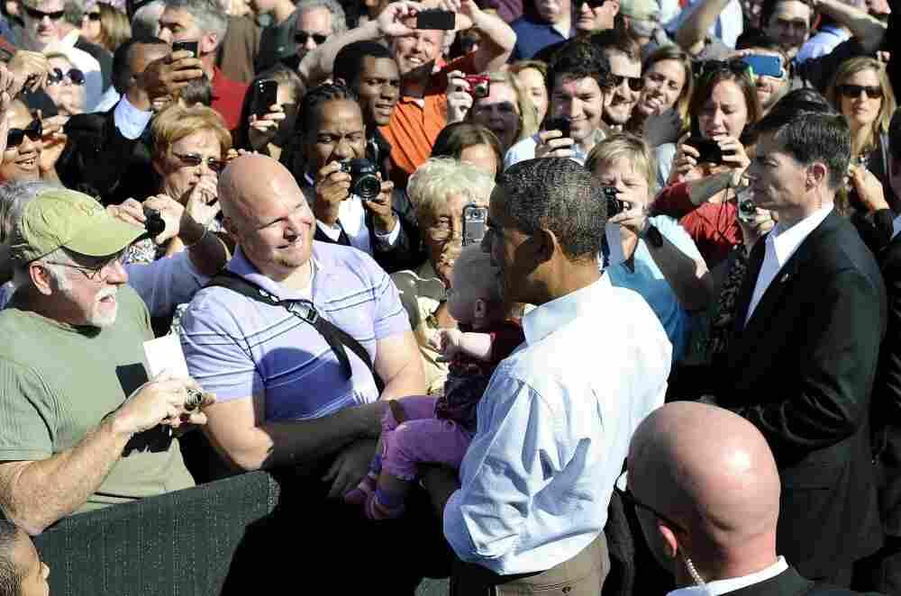 President Obama at the Asheville Regional Airport in Fletcher, North Carolina, Oct. 17, 2011.