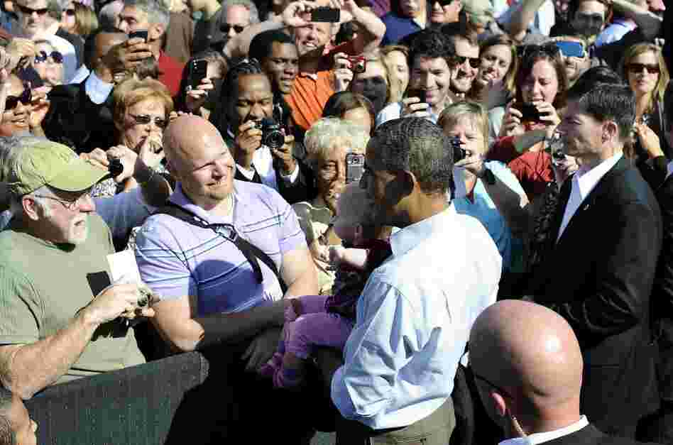 President Obama at the Asheville Regional Airport in Fletcher, North Carolina, Oct. 17, 2011.