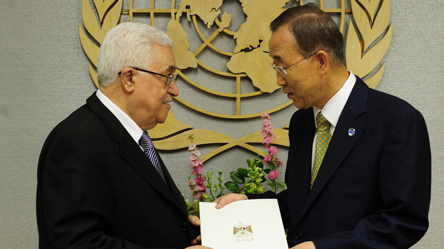 Palestinian Authority President Mahmoud Abbas (left) hands a formal letter for Palestine to be admitted as a state to U.N. Secretary-General Ban Ki-Moon during the 66th General Assembly at U.N. headquarters in New York, Sept. 23. Palestinians now are pursuing full membership in other U.N. agencies. (AFP/Getty Images)