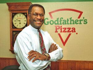 Herman Cain became a vice president at Pillsbury, left that job and started over at Burger King, where he climbed the corporate ladder again. Eventually, he became CEO of Godfather's Pizza, which he is credited with turning.