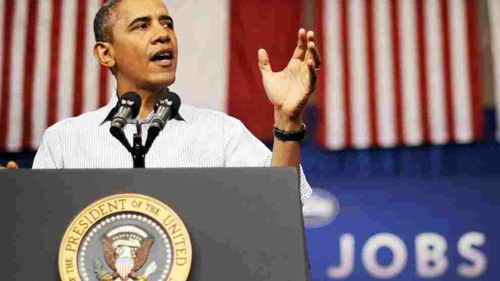 President Obama speaks at a YMCA in Jamestown, N.C., on Tuesday, during a three-day bus tour to promote his American Jobs Act. During the trip, he has drawn sharp lines between his jobs plan and the competing Republican plan.