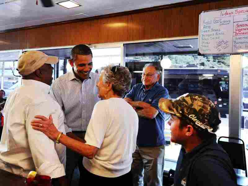 The president greets diners at the Reid's House Restaurant in Reidsville, N.C., on Tuesday.