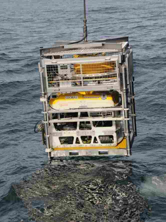 An unmanned ROV (remotely operated vehicle) is launched 900 feet underwater to study the wreckage of the SS Montebello.