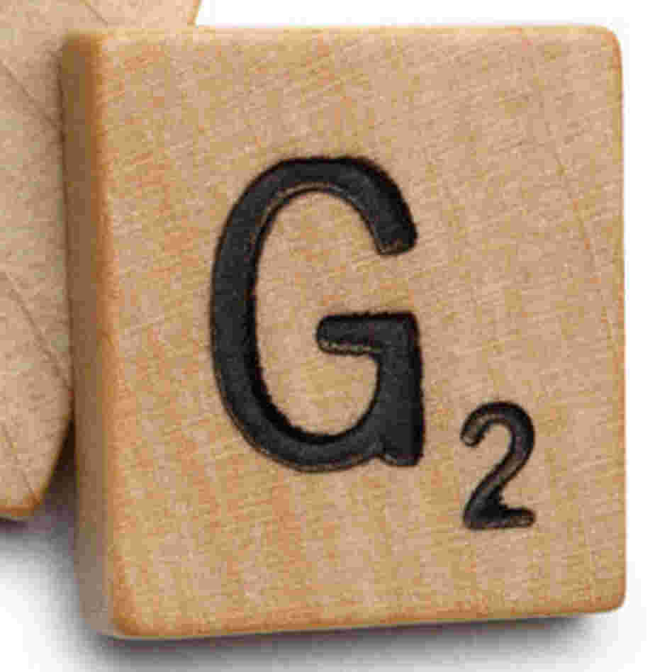 "The Scrabble tile of the letter ""G."""