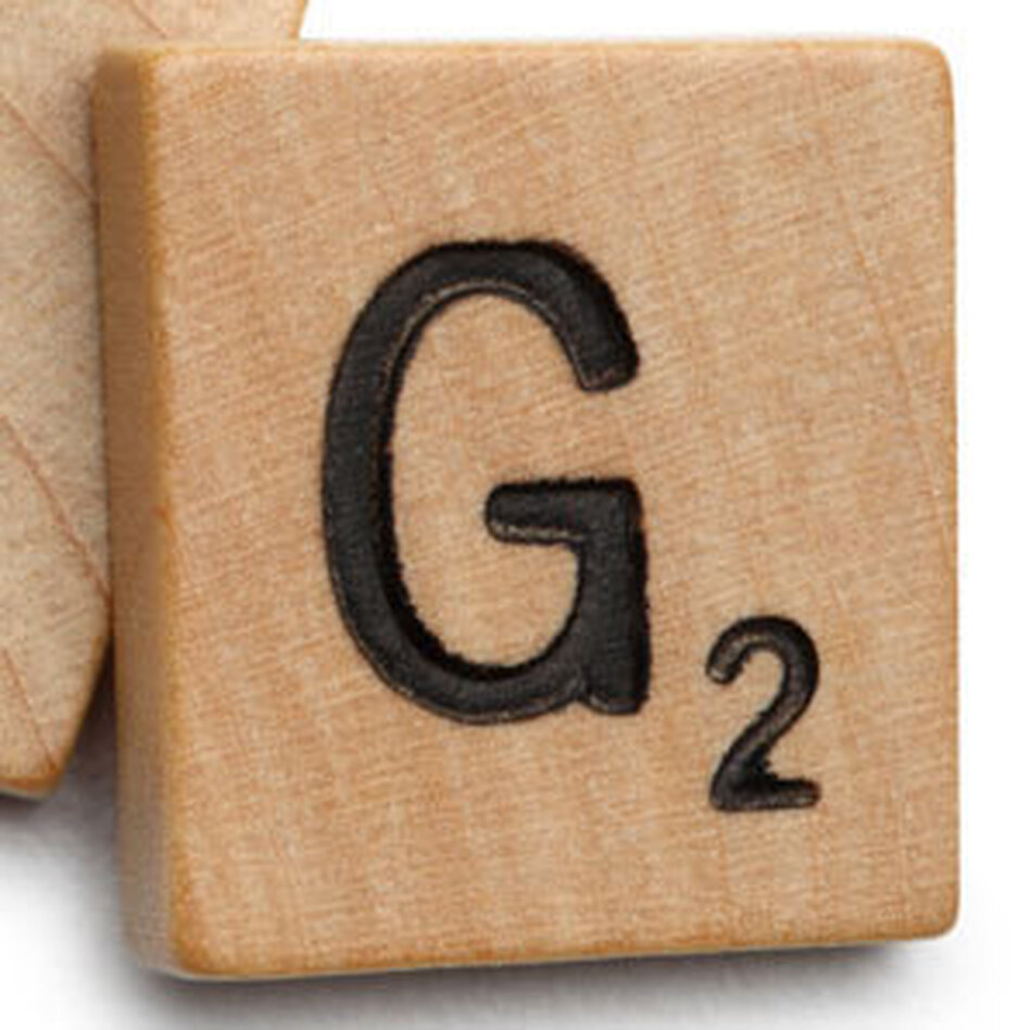 "<p>The Scrabble tile of the letter ""G.""</p>"