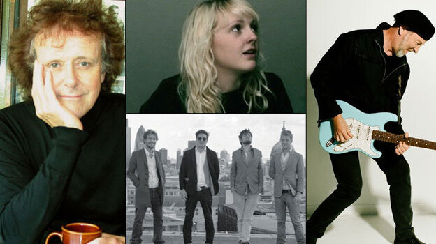 Clockwise from left: Donovan, Laura Marling, Richard Thompson, Mumford & Sons. (Andee Nathonson/Pamela Littky/Courtesy of  the artists)