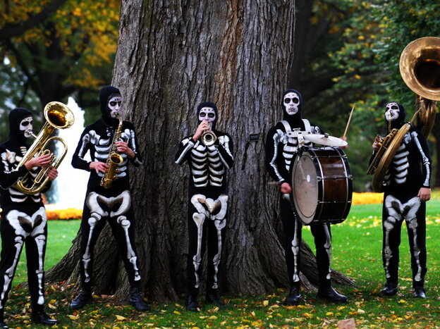 A skeleton band performs at the North Portico of the White House in Washington on Oct. 31, 2009.