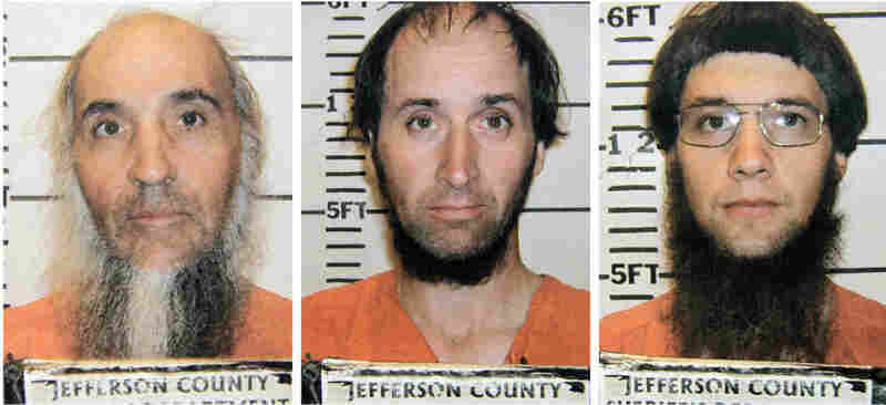Levi Miller (from left), Johnny Mullet and Lester Mullet are believed to be members of a breakaway Amish group that went into the home of an elderly Amish man and cut his hair and beard.