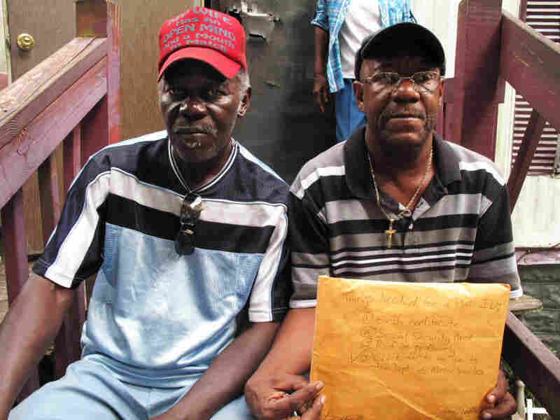 "Sharecropper Willie Blair (left) of Sumter, S.C., has used that name all his life, and it was on his Social Security card. But his birth certificate says ""Willie Lee McCoy."" Blair never went to school and is illiterate. His cousin Raymond Evans (right) tried to help him get an ID so Blair could vote; but Evans says it was a frustrating process."