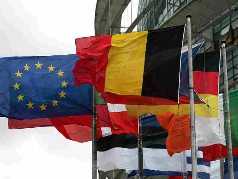 Flags of the European Union countries fly at the entrance of the European Parliament.