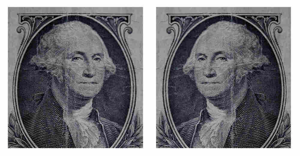 Which way does George face on his dollar bill?