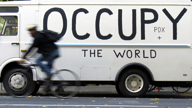 The Occupy Wall Street protests have inspired similar events around America, and in dozens of countries. Here, a truck has been painted with a sign supporting the Occupy Portland protests in Oregon.